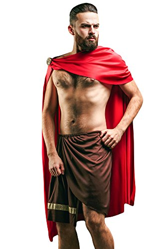 [Men's Greek Spartan Warrior King Leonidas Ancient Gladiator Spartacus Dress Up & Role Play Halloween Costume (One Size - Fits] (Grecian Sandals Costume)