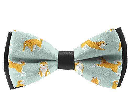 L Wright-King Mens Classic Pre-Tied Satin Formal Tuxedo Bowtie Adjustable Japanese Akita Dog