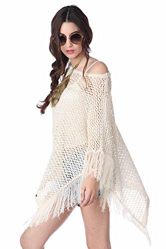 Q2 Mujer Poncho capa con flecos beige