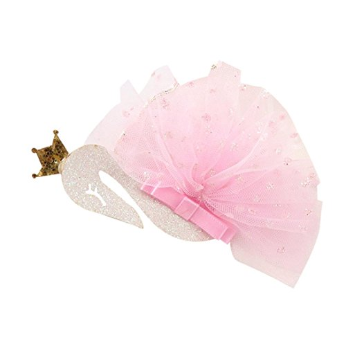 SUNBIBE Baby Girls Lace Swan Hair Buckle Hairpin Hairgrip Headdress Headbands Headwear Hair Accessories (Pink)