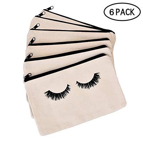 Pawaca 6 Packs Makeup Bag, Closed Eyelashes Cosmetic Bag, Travel Make Up Pouch