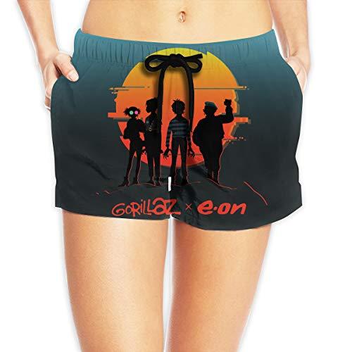 Gorillaz Eon Women's 3D Quick Dry Breathable Swim Trunk Surf Beach Shorts Board Shorts with Pocket Drawstring White