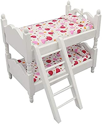 1 12 Dollhouse Children House Furniture Wooden Bunk Bed Strawberry Sheet Toy Bunk Bed Buy Online At Best Price In Uae Amazon Ae