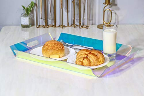 WINKINE 20'' Large Iridescent Acrylic Serving Tray with Handles, Rainbow Acrylic Multipurpose Decorative Display Butler Tray for Coffee Table, Breakfast, Tea, Food, Countertop, Kitchen