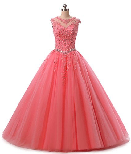 Prom Quinceanera 2018 Gown Ball Beading Lace Long Evening Dresses H152 Dress Sequined Watermelon HEIMO Appliques qwXU1S7cR