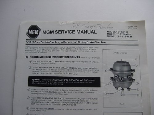 MGM Service Manual for S-cam Double-diaphragm Service and Spring Brake Chambers