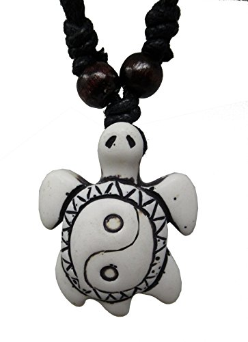 Exotic & Trendy Jewelry, Books and More Turtle Necklace - Sea Turtle Necklace - Hawaiian Turtle Necklace - Beach Turtle Carey (White Yin Yang M-4)