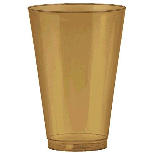 Amscan Disposable Premium Plastic Tumbler (36 Pack), 14 oz, Gold ()