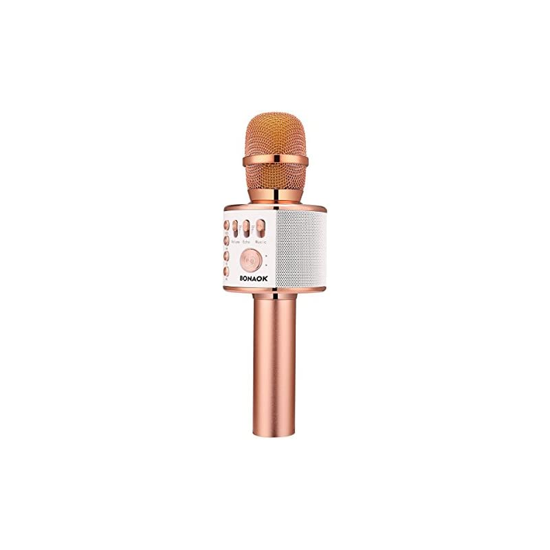 BONAOK Wireless Bluetooth Karaoke Microphone,3-in-1 Portable Handheld karaoke Mic Thanksgiving Gift Home Party Birthday Speaker Machine for iPhone/Android/iPad/Sony, PC and All Smartphone(Rose Gold)