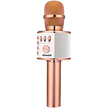 BONAOK Wireless Bluetooth Karaoke Microphone, Easter Gift 3-in-1 Portable Hand Speaker for iPhone/Android/iPad/Sony,PC and All Smartphone(Rose Gold)