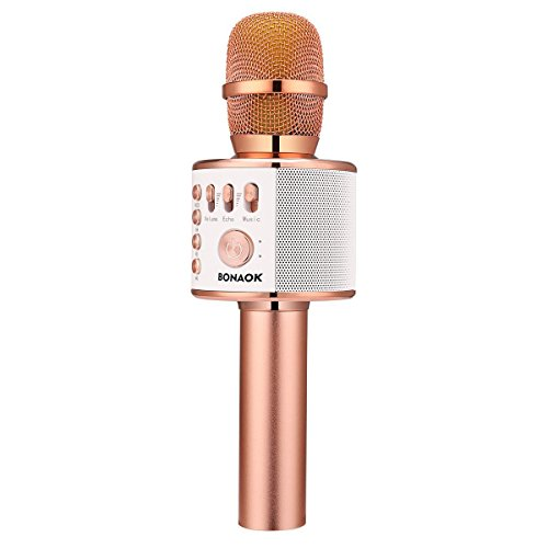 BONAOK Wireless Bluetooth Karaoke Microphone,3-in-1 Portable Handheld karaoke Mic Valentine's Gift Home Party Birthday Speaker Machine for iPhone/Android/iPad/Sony, PC and All Smartphone(Rose Gold)