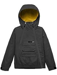 Wantdo Boys Girls Fleece Hood Waterproof Windbreaker Rain Jacket Black 8