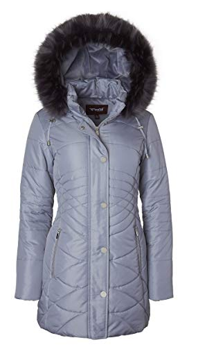 - Sportoli Women's Longer Length Plush Lined Puffer Coat and Zip-Off Detacheable Fur Trim Hood - Glaciar Blue (Large)