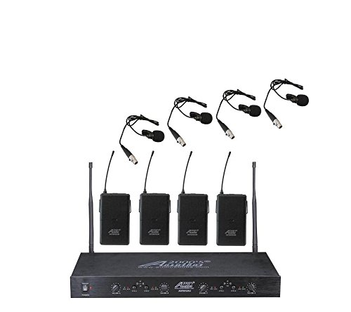 Audio2000'S AWM6526UM PLL 16-Frequency 4-Channel Wireless System with Four Lavaliere Transmitters by Audio 2000S