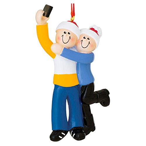 Personalized Selfie Family of 2 Christmas Tree Ornament 2019 - Cute Couple take Self-Portrait Photo Smartphone Share via Social Media Winter Hug 1st Travel Memory Year - Free Customization