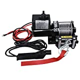Suptools Electric Winch (3000 LBS) 12V,Single Line Heavy Duty ATV Winch with Roller Fairlead, Electric Steel Cable Winch Kit