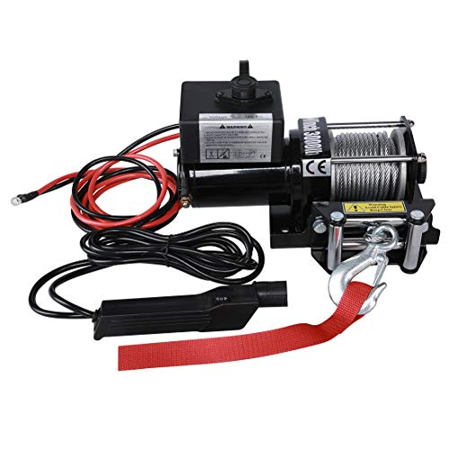 Suptools Electric Winch (3000 LBS) 12V,Single Line Heavy Duty ATV Winch with Roller Fairlead, Electric Steel Cable Winch ()