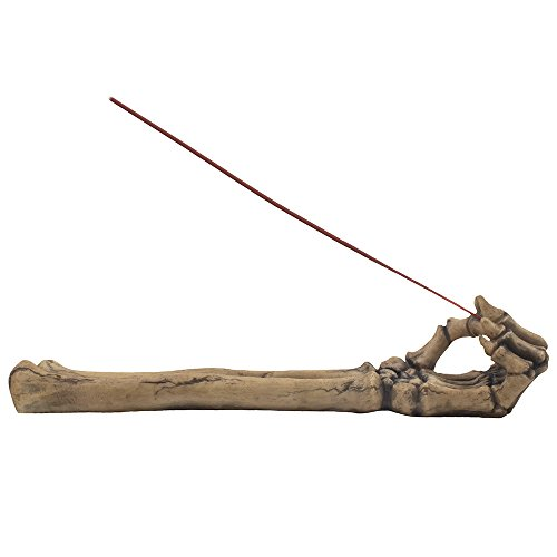 Bone Chilling Skeleton Arm and Hand Incense Stick Holder Display Stand Figurine for Scary Halloween Decorations or Medieval Art & Gothic Home Decor Aromatherapy Incense Burners As Spooky Fantasy Gifts