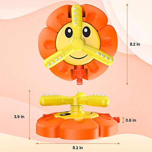 Kiztoys Sprinkler Toy For Kids, Sunflower Sprinkler for Kids Outside with Roating Nozzles, Attaches to Garden Hose, Water Sprinkler Toys for Boys Girls Summer Outdoor Lawn Garden Yard Beach Toy