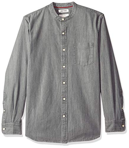 (Goodthreads Men's Standard-Fit Long-Sleeve Band-Collar Denim Shirt, -washed black, Medium Tall)