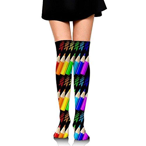 アンタゴニストダニ最小化するガールズ ニーハイソックス レインボー カラー アート 鉛筆 見目良い 靴下 60CM オーバーニーソックス 着圧 ストッキング