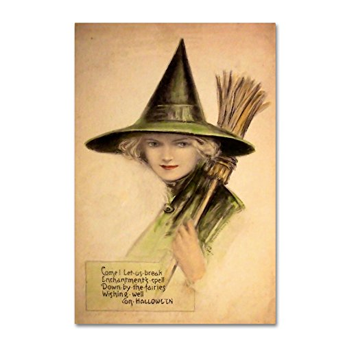 Halloween Beautiful Green Witch by Vintage Apple Collection, 12x19-Inch]()