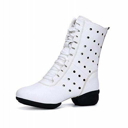 BYLE Zapato Baile 37 Tobillo de de Jazz Cuadrado Cuero Baile Zapatos Mujer Blanco Blando Samba Modern Sandalias de Fondo BBrqwRp