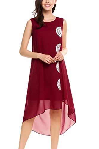 Qearal Womens Summer Chiffon Sleeveless Lace Embroidered Flowy Hi-Low Party Dress (L, Wine Red)