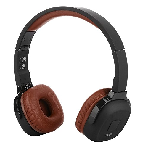 Cywulin Super Bass Wireless On Ear Eadset , Built-in Microphone Bluetooth Headphones with Mic,Audio and Wired Mode for Mac Smartphones Computers Laptops (Brown)
