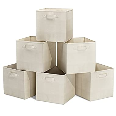 Closet Organizer - Fabric Storage Basket Cubes Bins - 6 Beige Cubeicals Containers Drawers