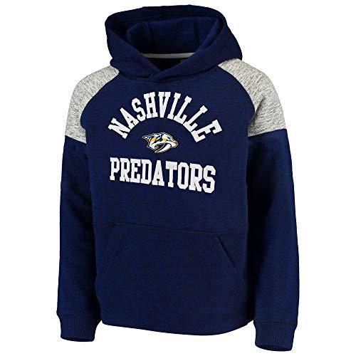 Outerstuff NHL Youth 8-20 Team Color Hat Trick Pullover Sweatshirt Fleece Hoodie (Large 14/16, Nashville Predators)