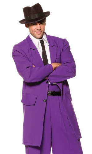 Underwraps Costumes Men's Purple Zoot Suit, Purple/White/Black, One Size - Westside Story Costumes