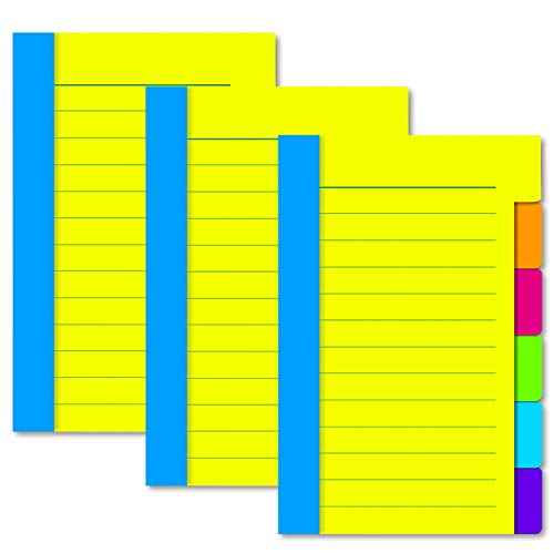 3 Pack Divider Sticky Notes, Tabbed Self-Stick Lined Note Pad, 60 Ruled Lined Notes(4 x 6) Per Pack, Assorted Neon Colors