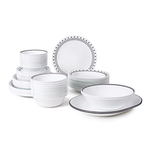 Corelle Livingware 76-Piece Dinnerware Set, Service for 12, City Block (Place Dinnerware Settings For 12 Sets)