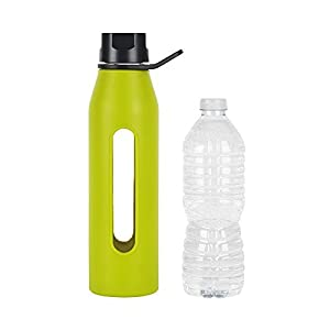 Takeya Classic Glass Water Bottle with Silicone Sleeve and Twist Cap, 22 Ounce, Green