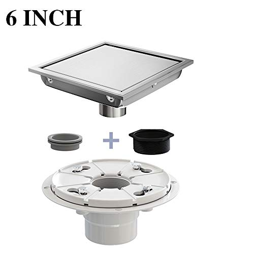 Ushower 6 Inch Square Drain for Shower with Drain Base Flange 2 Inch Outlet, Floor Drain Square with Threaded Adapter, Rubber Coupler, Hair Strainer for Bathroom Kitchen Basement
