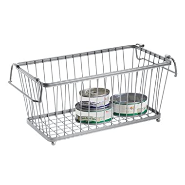 InterDesign York Lyra Kitchen Pantry Cabinet Organizer Basket, Silver