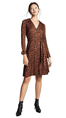 Dress Wrap Dvf Silk (Diane von Furstenberg Women's Collared Wrap Dress, Heyford Cocoa, 14)
