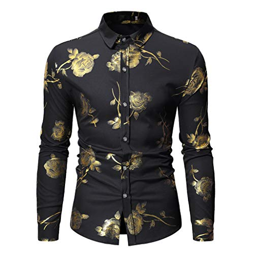 iHPH7 Shirts Long-Sleeve Work Fashion Long Sleeve Painting Large Size Casual Top Blouse Shirts Men's -