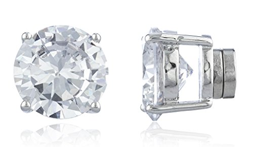 Silvertone Magnetic Earrings with Clear Cz Round - 4mm to 12mm (11 Millimeters) (E-1528)