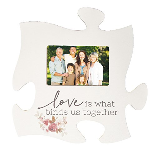 P. GRAHAM DUNN Love Binds Us Together Floral White 12 x 12 Wood Puzzle Photo Frame Wall Plaque