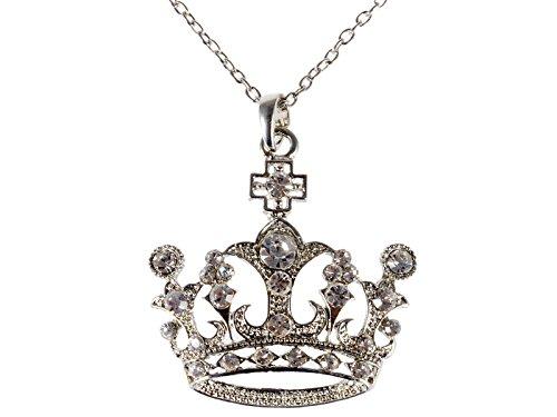 Alilang Silvery Tone Swarovski Crystal Rhinestone Queen Crown Princess Pendant ()