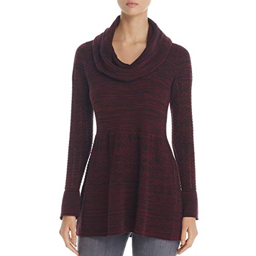 Heather B Womens Cowl Neck Marled Tunic Sweater Red M