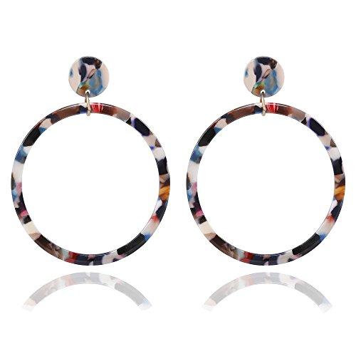 Acrylic Hoop Earrings Large Mottled Marble Circle Drop Dangle Earrings Tortoiseshell Round Stud Earrings for Women (Floral) - Round Floral Earrings