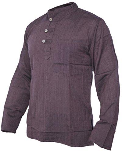Chemise L'été Plaine Hommes Tops Collarless Cotton Grandad Douille Complète Shirts Kurtas Little Brown Kathmandu Festival IZqUwZv
