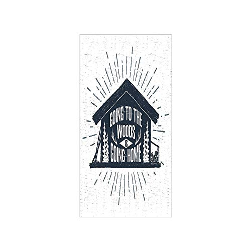 3D Decorative Film Privacy Window Film No Glue,Cabin Decor,Retro Style Hand Drawn Label with Wooden Cabin Chalet Quote Hipster Lodge,Black White Grey,for Home&Office (Chalet Window)