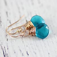 Rose Gold Teal Blue Gemstone Drop Earrings