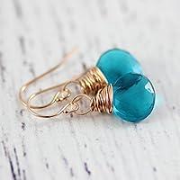 Rose Gold Teal Blue Gemstone Drop Earrings