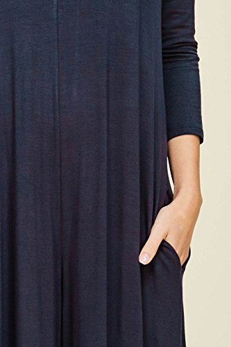 Annabelle Women's Wide Leg Jumpsuit with 3/4 Sleeves and Round Neck Slate XX-Large J8067P by Annabelle U.S.A (Image #3)