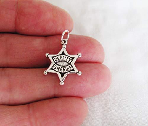 (Pendant Jewelry Making/Chain Pendant/Bracelet Pendant Sterling Silver Deputy Sheriff Badge Charm)